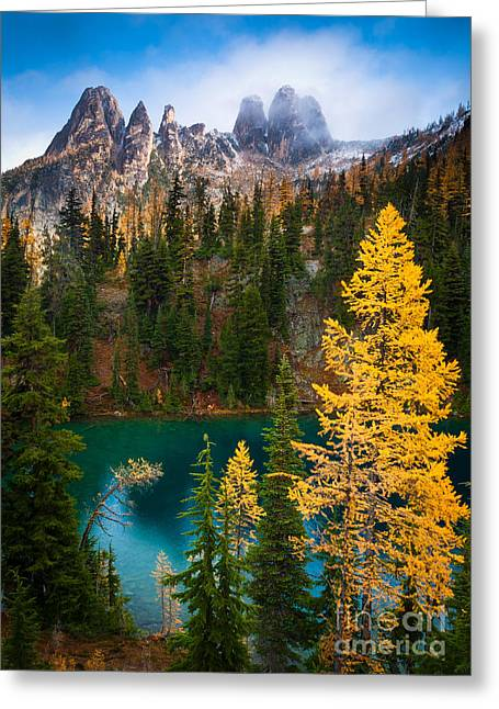 North Cascades Greeting Cards - Blue Lake and Early Winter Spires Greeting Card by Inge Johnsson
