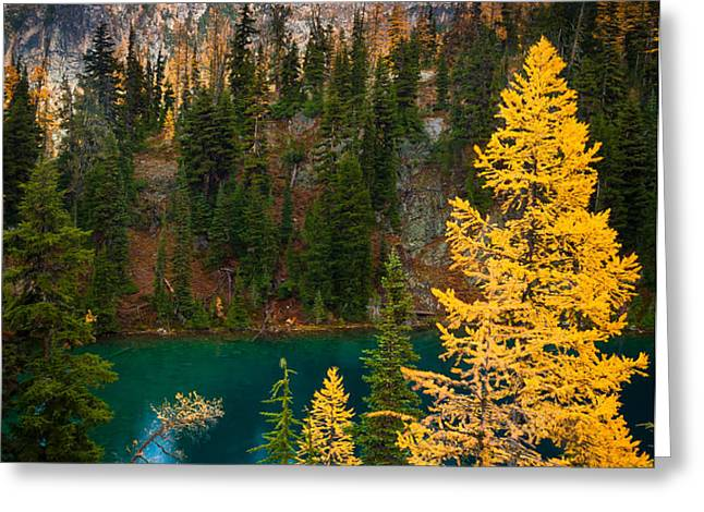 Blue Lake and Early Winter Spires Greeting Card by Inge Johnsson