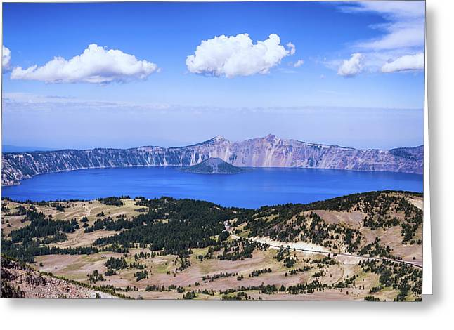 Crater Lake View Greeting Cards - Blue Lake Greeting Card by Joseph S Giacalone