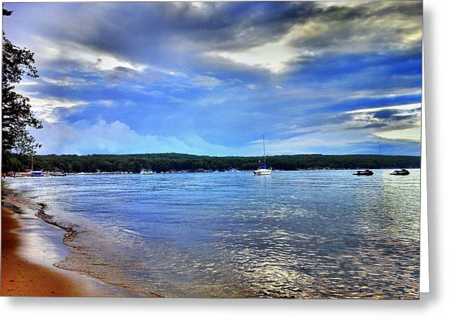 Blue Sailboats Greeting Cards - Blue Lake Sky Greeting Card by Bill Noonan