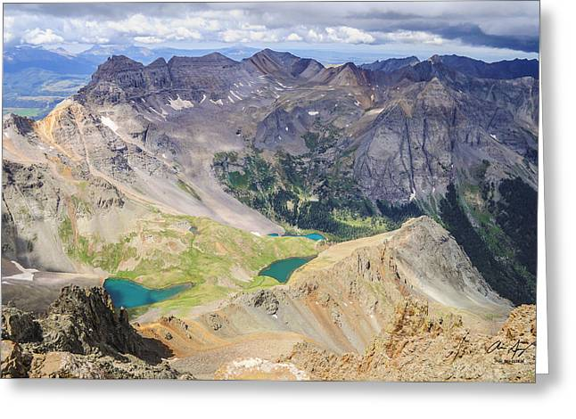 High Up Greeting Cards - Blue Lakes Greeting Card by Aaron Spong