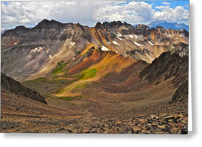 Altitude Greeting Cards - Blue Lakes Pass Greeting Card by Aaron Spong