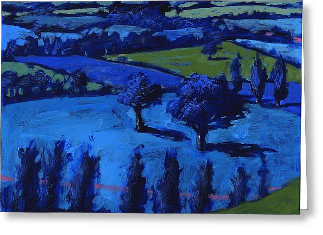 Moon Light Greeting Cards - Blue Landscape, 2009 Acrylic On Board Greeting Card by Paul Powis
