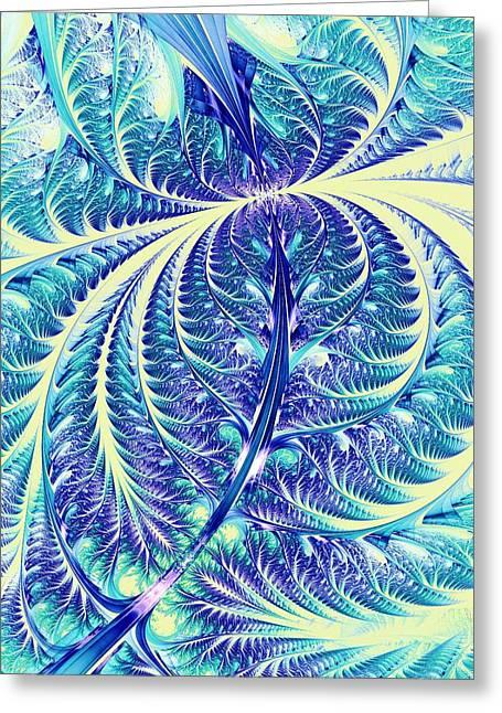 Blue Leaf Greeting Card by Anastasiya Malakhova