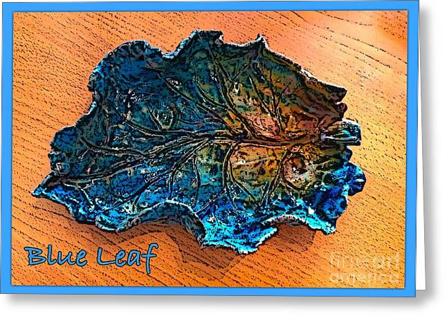 Greeting Cards Ceramics Greeting Cards - Blue Leaf Ceramic Design 2 Greeting Card by Joan-Violet Stretch