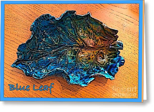 Leafs Ceramics Greeting Cards - Blue Leaf Ceramic Design 2 Greeting Card by Joan-Violet Stretch