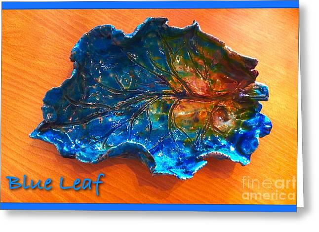 Greeting Cards Ceramics Greeting Cards - Blue Leaf Ceramic Design 3 Greeting Card by Joan-Violet Stretch