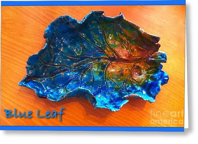 Orange Ceramics Greeting Cards - Blue Leaf Ceramic Design 3 Greeting Card by Joan-Violet Stretch
