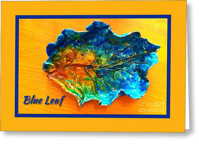 Posters Ceramics Greeting Cards - Blue Leaf Ceramic Design Greeting Card by Joan-Violet Stretch