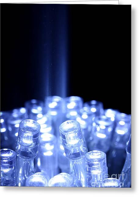 Diode Greeting Cards - Blue LED lights with light beam Greeting Card by Simon Bratt Photography LRPS