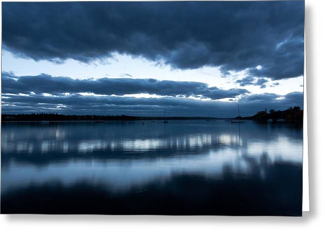 Glenmore Reservoir Greeting Cards - Blue light on the Glenmore reservoir Calgary Alberta Canada Greeting Card by Michael Mckinney