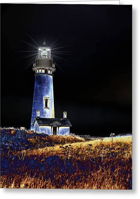 Blue Lighthouse Greeting Card by Charrie Shockey