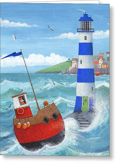 Blue Sailboats Greeting Cards - Blue Lighthouse Greeting Card by Peter Adderley