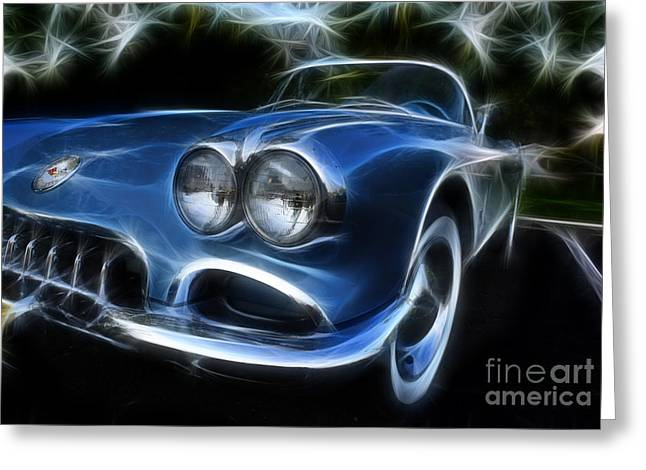 1950-1959 Greeting Cards - Blue Lightning - 1950s Corvette  Greeting Card by Lee Dos Santos