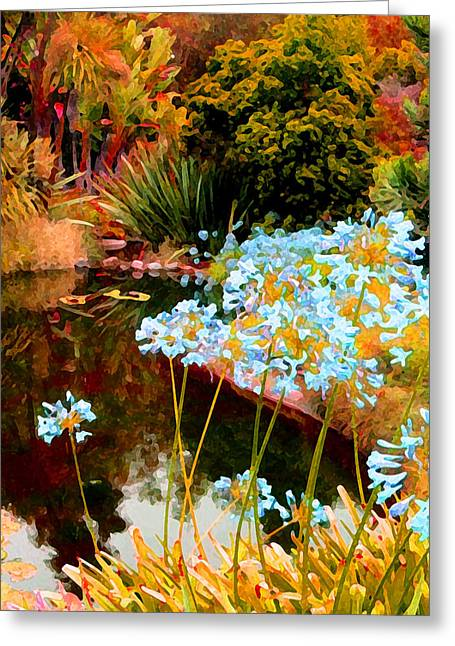 Water Garden Digital Art Greeting Cards - Blue Lily Water Garden Greeting Card by Amy Vangsgard