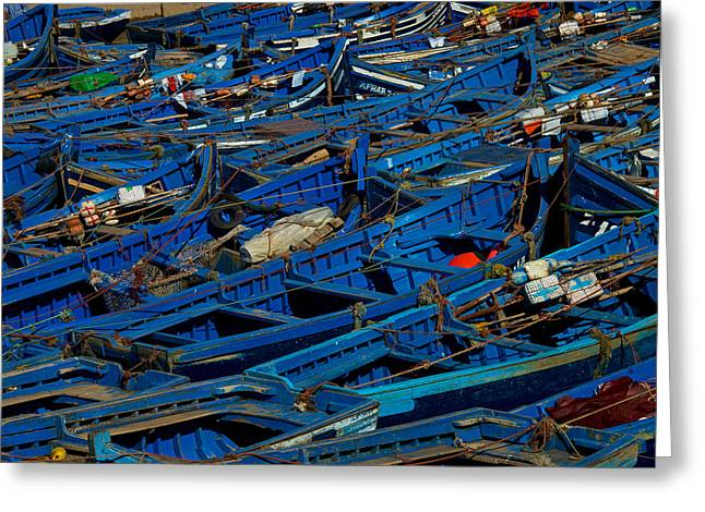Boats In Harbor Greeting Cards - Blue Greeting Card by Linda Groom