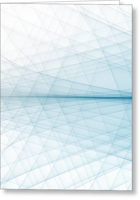 Geometric Effect Greeting Cards - Blue Line Background Greeting Card by Dan Radi