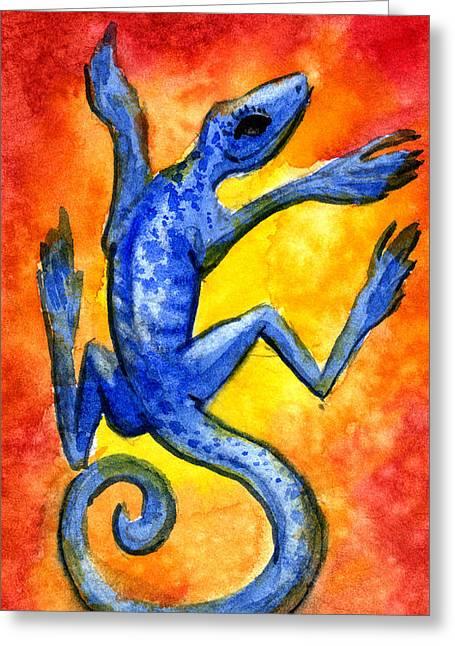 Blue Lizard Greeting Card by Sean Seal