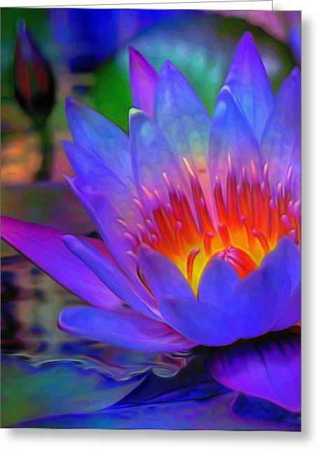 Floral Digital Art Greeting Cards - Blue Lotus Greeting Card by  Fli Art