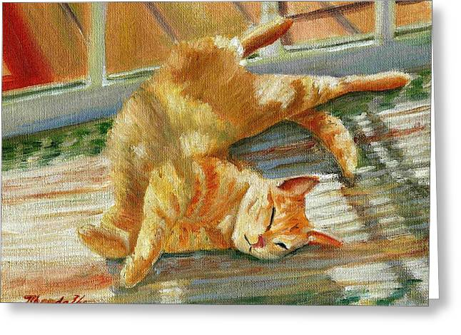 Lounge Paintings Greeting Cards - Blue Lounging Red Tabby Cat Portrait Greeting Card by Olde Time  Mercantile