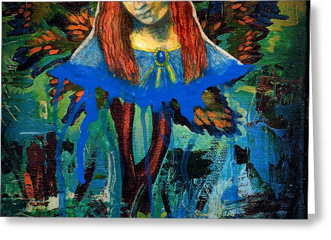Blue Madonna In Tree Greeting Card by Genevieve Esson