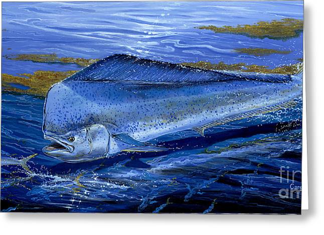 Salmon Paintings Greeting Cards - Blue Mahi Off0071 Greeting Card by Carey Chen
