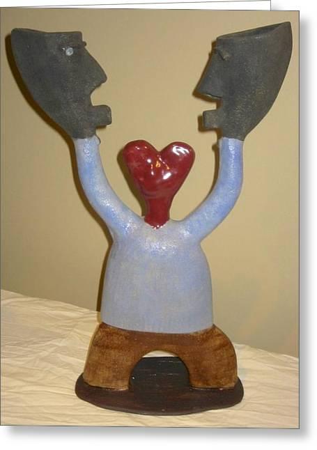 Figures Ceramics Greeting Cards - Blue Man - I Love Myself Greeting Card by Mario Perron