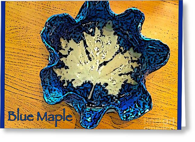 Leafs Ceramics Greeting Cards - Blue Maple Leaf Dish 2 Greeting Card by Joan-Violet Stretch