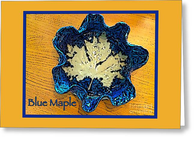 Posters Ceramics Greeting Cards - Blue Maple Leaf Dish 2 Greeting Card by Joan-Violet Stretch