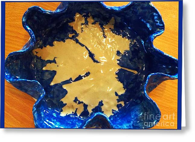 Leafs Ceramics Greeting Cards - Blue Maple Leaf Dish Greeting Card by Joan-Violet Stretch
