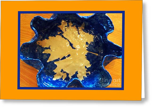 Posters Ceramics Greeting Cards - Blue Maple Leaf Dish Greeting Card by Joan-Violet Stretch