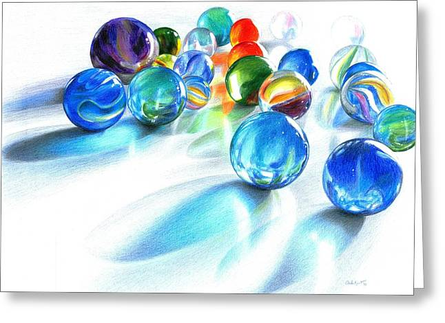 Glass Ball Greeting Cards - Blue Marble Reflections Greeting Card by Carla Kurt