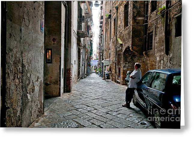 Naples Italy Greeting Cards - Blue Greeting Card by Marion Galt