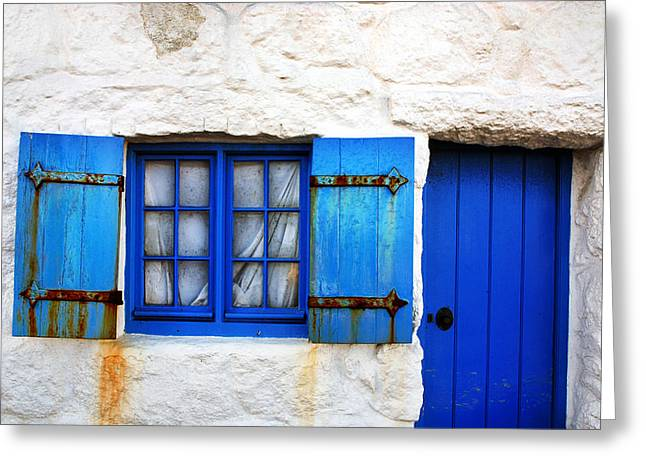 Blue Doors Greeting Cards - Blue Greeting Card by Mark Rogan