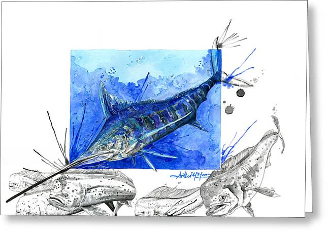 Fishing Tournaments Greeting Cards - Blue Marlin and Mahi Greeting Card by Amber M  Moran