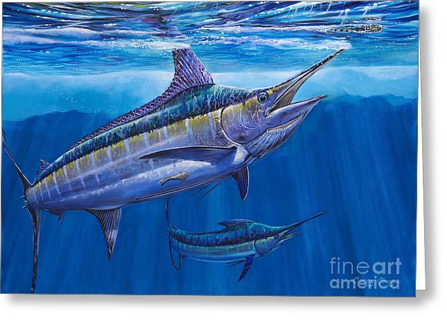 Blue Marlin Bite Off001 Greeting Card by Carey Chen