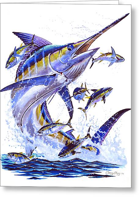 Pez Vela Paintings Greeting Cards - Blue Marlin Greeting Card by Carey Chen