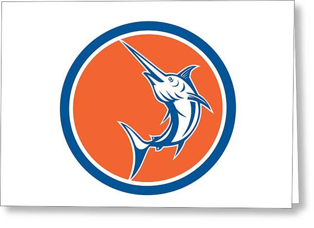 Swordfish Greeting Cards - Blue Marlin Circle Cartoon Greeting Card by Aloysius Patrimonio