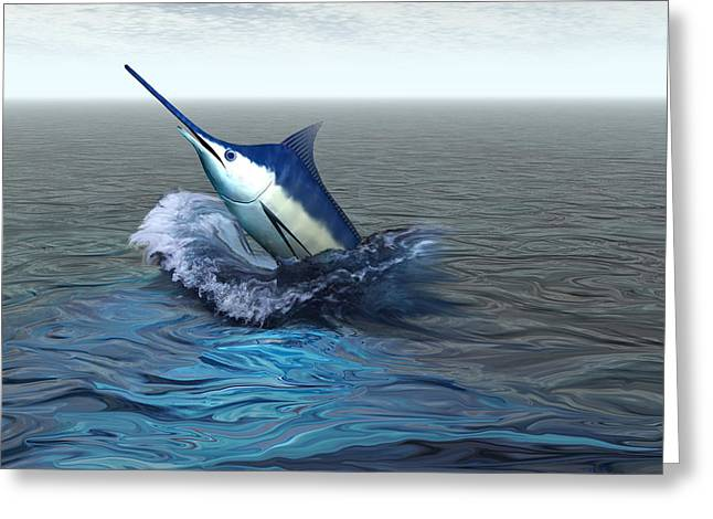 Swordfish Digital Art Greeting Cards - Blue Marlin Greeting Card by Corey Ford