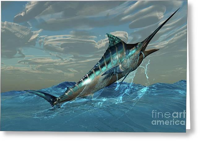 Swordfish Greeting Cards - Blue Marlin Jump Greeting Card by Corey Ford