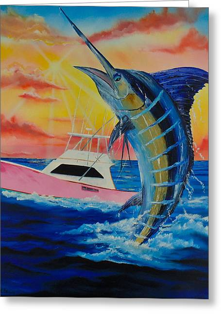 Circle Hook Greeting Cards - Blue Marlin Greeting Card by Kevin  Brown