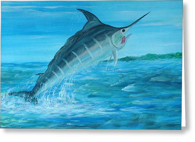 Black Marlin Paintings Greeting Cards - Blue Marlin Greeting Card by Nigel Wakefield