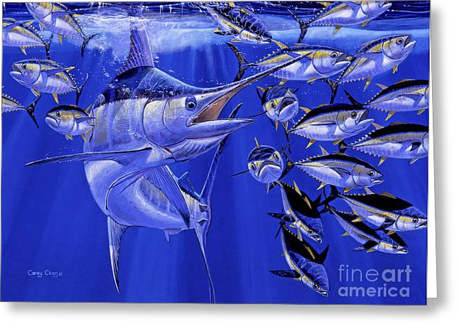 Miami Paintings Greeting Cards - Blue marlin round up Off0031 Greeting Card by Carey Chen