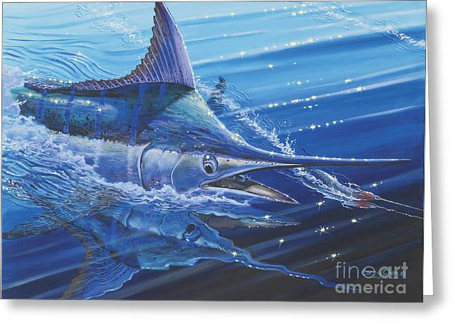 Sportfishing Boats Greeting Cards - Blue Marlin strike Off0053 Greeting Card by Carey Chen