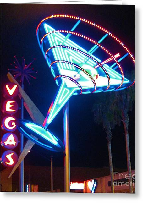 John Malone Artist Greeting Cards - Blue Martini Glass Las Vegas Greeting Card by John Malone