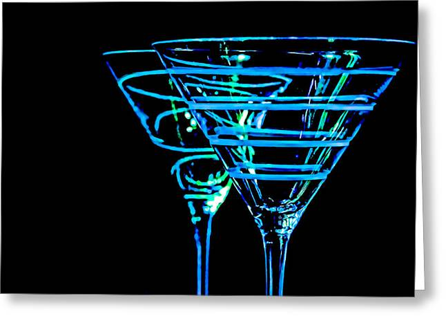 Olive Green Greeting Cards - Blue Martini Greeting Card by Spencer McDonald