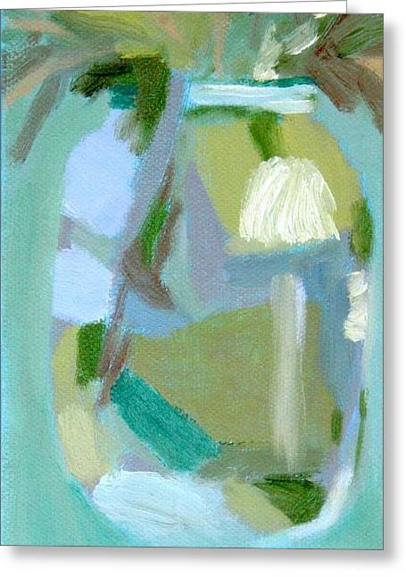 Recently Sold -  - Water Jars Greeting Cards - Blue Mason Jar Greeting Card by Molly Fisk