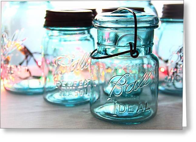 Glass Greeting Cards - Blue Mason Jars Greeting Card by Elizabeth Budd