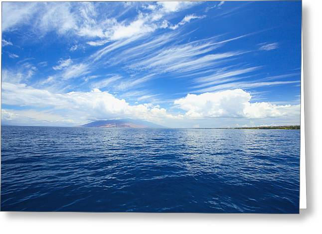 Far Above Greeting Cards - Blue Maui Seascape Greeting Card by Kicka Witte