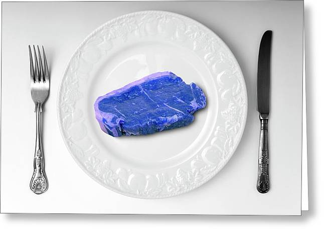 Blue Meat On White Plate Greeting Card by Victor De Schwanberg